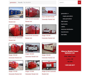 Edmonton web design company, INM, created this products page for the AMPS gallery which hosts multiple images of portable generators