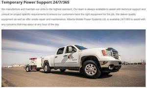 An AMPS truck pulling a trailer-mounted portable generator is central to the Services page on their website created by INM of Nisku
