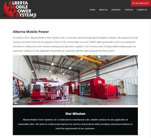Immense, bright red mobile electrical generators effectively highlight the About Us page developed for AMPS by Industrial NetMedia in Nisku