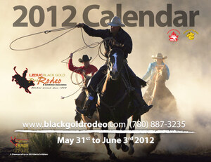 The 2012 Leduc BGR calendar produced by Edmonton-area Industrial NetMedia shows a trio of cowboys with their lassos aloft riding in mist