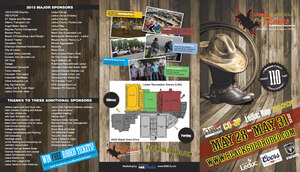 "Elements such as sponsor lists, venue map, event photos and a stirring cover image of a stetson on cowboy boots highlights the ""A-side"" of the 2015 BGR flyer produced by INM"