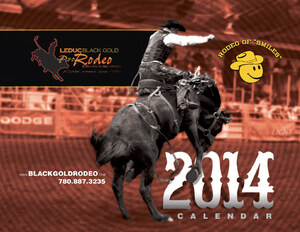 A sepia-toned photo with a predominant yellow Rodeo of Smiles logo were the featured elements for the 2014 BGR calendar produced by Industrial NetMedia