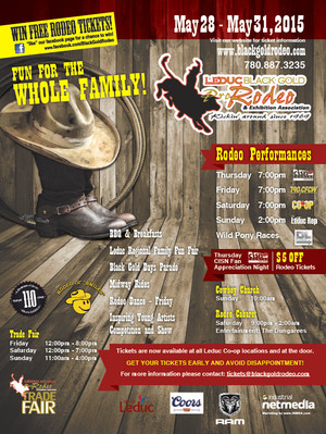 A call-to-action, a great rodeo-themed graphic, the bold BGR logo, sponsor logos and event listings were the elements used by INdustrial NetMedia to create the 2015 Leduc BGR poster