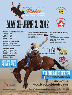 Alberta web designer INM created this poster in 2012 to promote the Black Gold Rodeo with an impact graphic and loads of event details