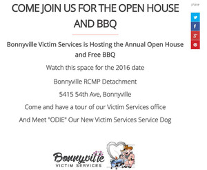 Internet website developer, INM of Edmonton used this cartoony image of a pig using a BBQ beside a stack of handy social media buttons to promote Bonnyville VSU's Open House page