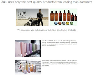 Images of shampoo, conditioner, hair coloring agents and other professional beauty products are a part of the product gallery designed by INM