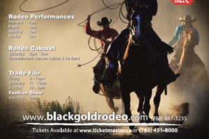 The 2011 edition of the BGR poster designed by INM of Nisku/Edmonton features a bold image of cowboys with lariats flying