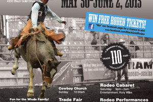 The Leduc BGR poster for 2013, developed by Edmonton web designer INM shows a cowboy on a bucking bronc from a rare front angle