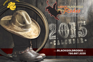 A well-worn cstetson covering a pair of cowboy boots is the enticing graphic chosen for the 2015 Leduc BGR calendar designed by Alberta-based INM