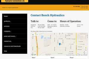 Alberta-based website builder, INM of Leduc created this comprehensive contact page for Bosch Hydraulics