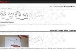 line drawings of chemicals compounds and a picture of a chemical pipette in use are featured graphics for the Contact Chemicals blog page developed by Alberta web professionals INM