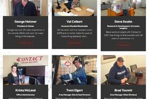 A selection of folks smiling broadly while at work are featured in the Gallery Page of the Contact Chemical website produced by INM of Alberta