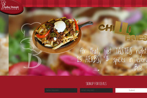 Images of banana and jalapeno peppers, sour cream, and spiced meat top an order of Basha Chilli Fries on the Home Page carousel created by INM of Leduc