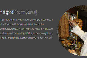A circular photo of a beaming, white smocked Chef Kass slicing donair meat is the featured image on the Basha Chef Home Page footer developed by INM of Nisku/Leduc/Edmonton