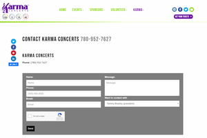 Karma Concerts Contact Page