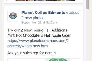 An image of Planet Coffee's Facebook page with calls to action were added to Planet Coffee's website by Industrial NetMedia of Edmonton